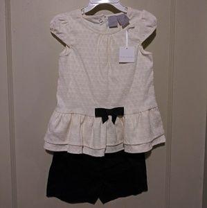 NWT Tahari Toddler Cream & Black Short Set